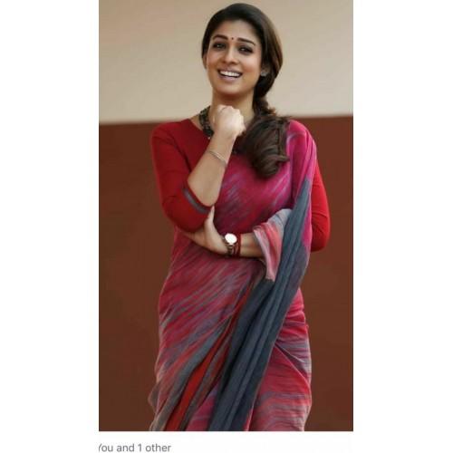 Handblock printed cotton designer saree  with blouse pc