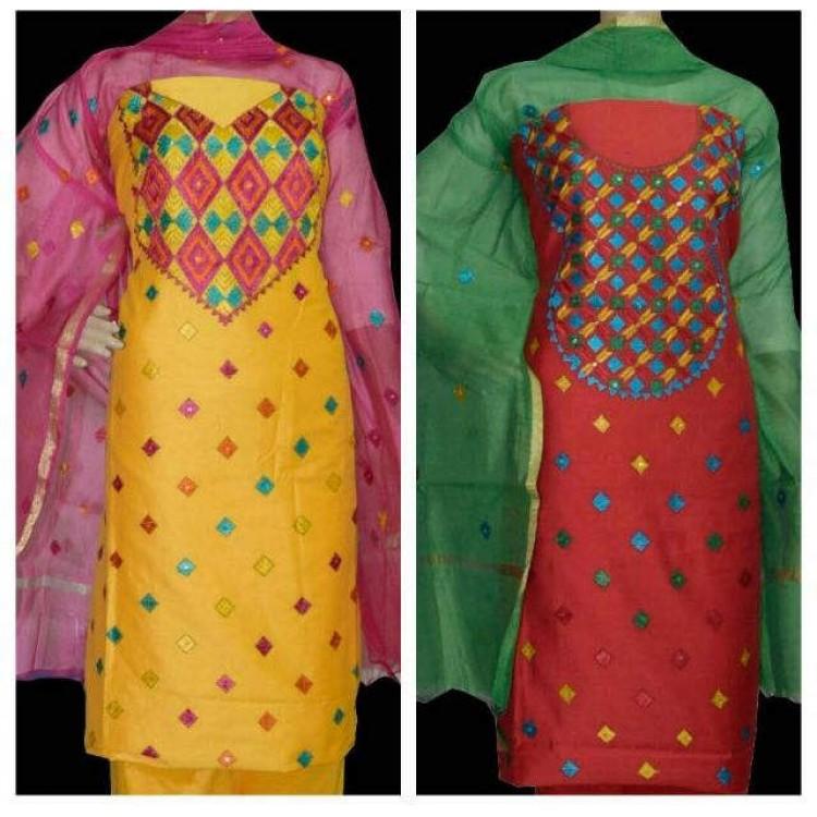 Chanderi Suit Punjabi Suits Embroided Suits Chudidar Patiala Suits