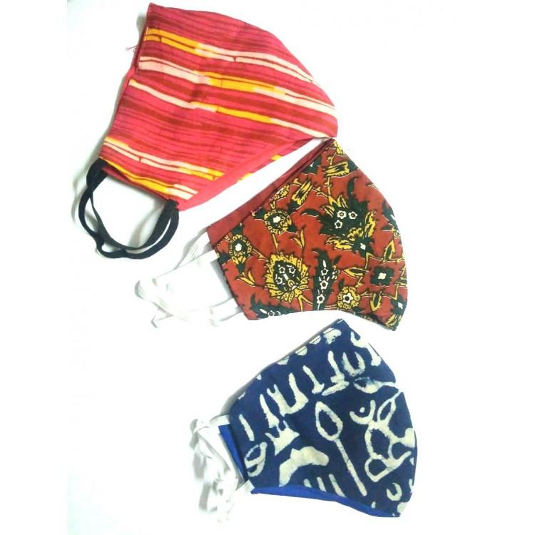 Hand Block Batik Printed Cotton Suit-Salwar Fabric With Chiffon Dupatta(FEM1711301)