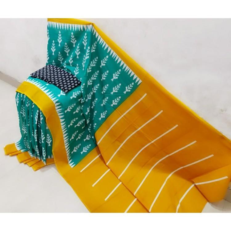 Handblock printed cotton saree with blouse