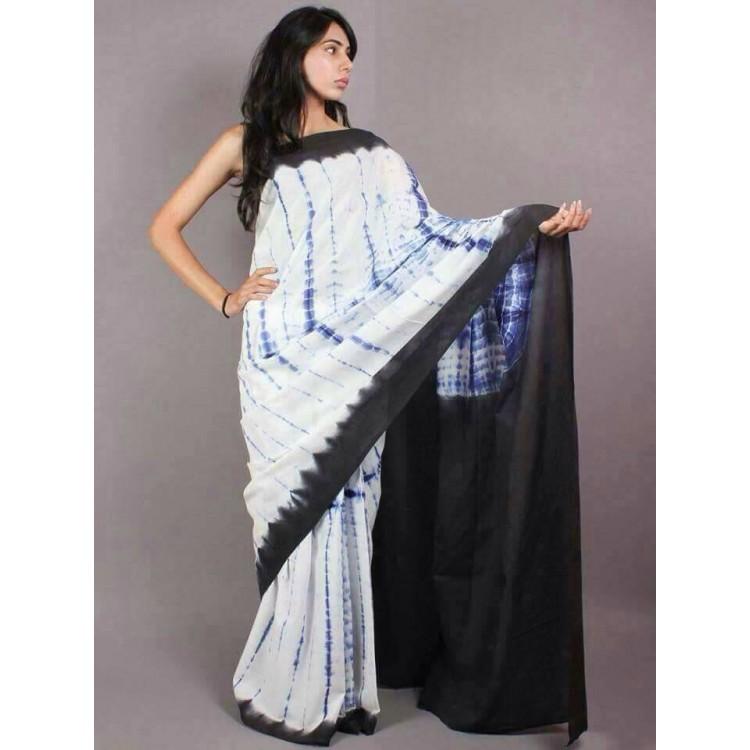 Tie Dye Hand Batik printed cotton Saree with Blouse